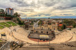 Leinwanddruck Bild - Beautiful cityscape of Plovdiv, Bulgaria, in the medieval part of the city called Old Town, with the ancient Roman theatre