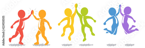 Sammlung/Set: Geschäftsleute beim High-Five  – farbenfroh / Vektor / Flat Design Canvas-taulu