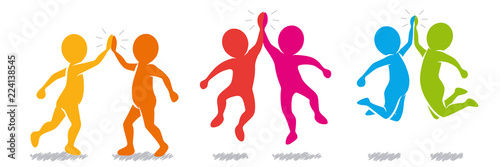 Sammlung/Set: Farbige Figuren beim High-Five – Vektor / Flat Design Canvas-taulu