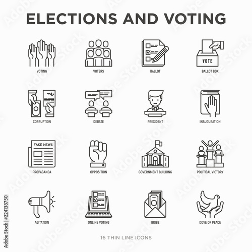 Cuadros en Lienzo Election and voting thin line icons set: voters, ballot box, inauguration, corruption, debate, president, political victory, propaganda, bribe, agitation
