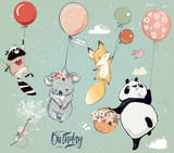 Fototapeta Fototapety na ścianę do pokoju dziecięcego - Collection with cute birthday fly animals with balloons