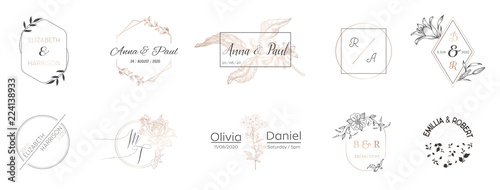 Wedding monogram collection, Modern Minimalistic and Floral templates for Invita Slika na platnu