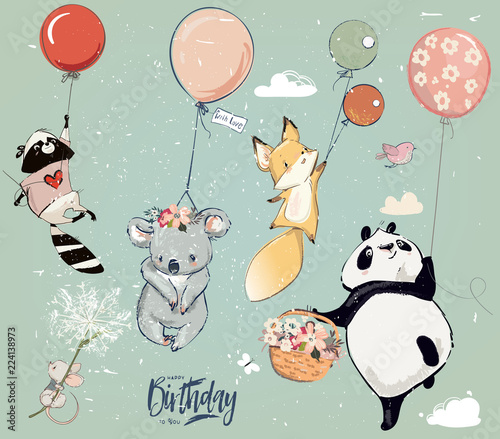 Obraz Collection with cute birthday fly animals with balloons - fototapety do salonu