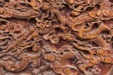 Abstract Chinese Pattern On Wood