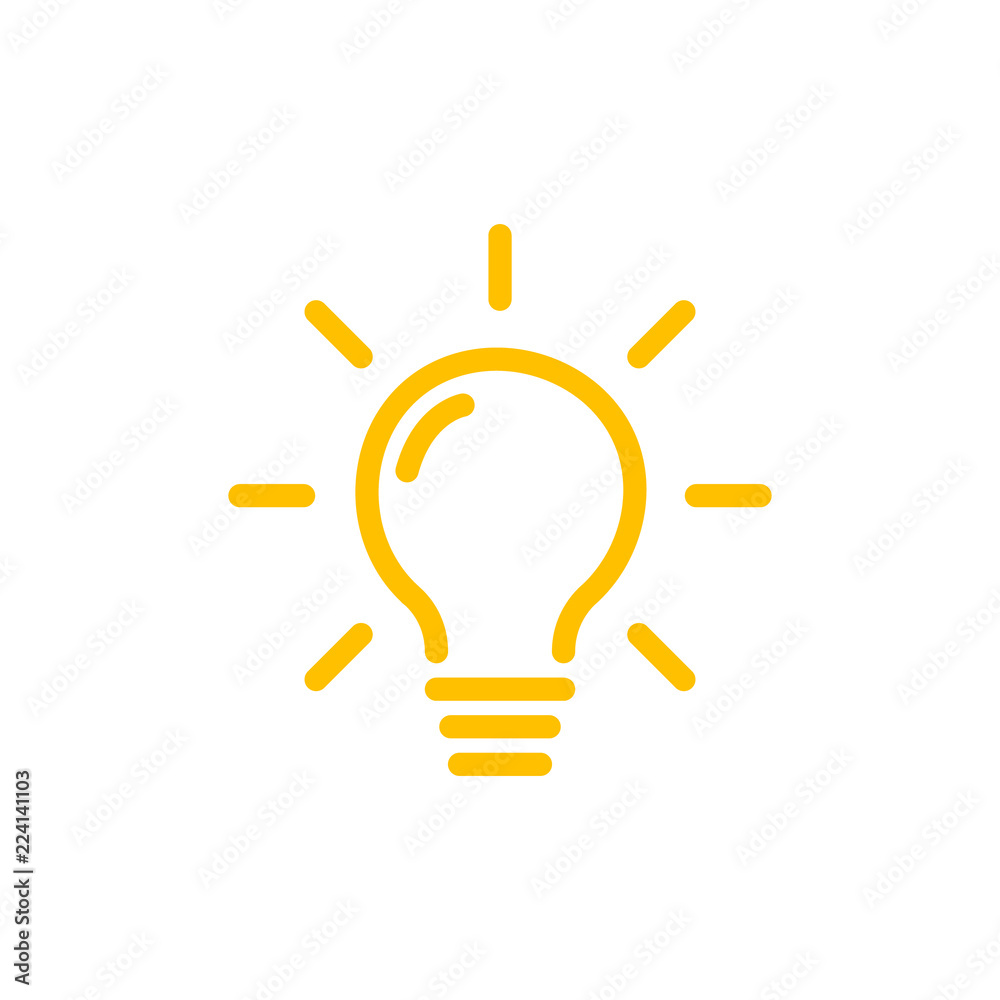 Fototapeta Effective thinking concept solution bulb icon with innovation idea. Solution isolated symbol