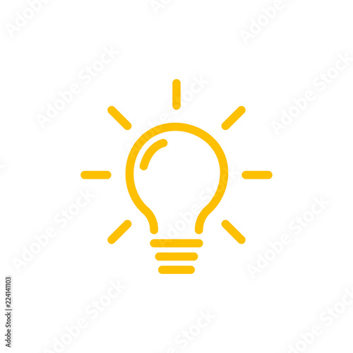 Obraz Effective thinking concept solution bulb icon with innovation idea. Solution isolated symbol - fototapety do salonu