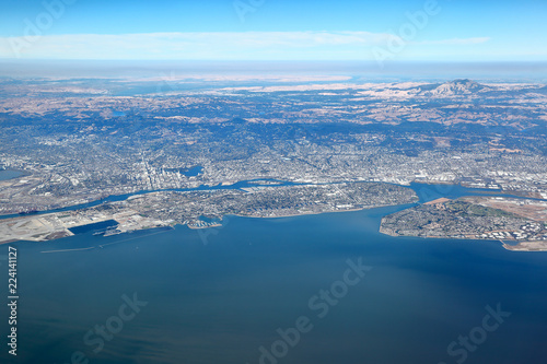 Fotografía San Francisco Bay Area: Aerial View of east bay region showing the cities of Oak