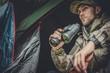 canvas print picture - Hunter Spotting Wildlife