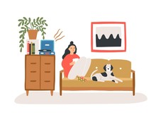 Young Woman Sitting On Cozy Sofa With Her Dog, Drinking Tea Or Coffee And Listening To Playing Vinyl Record In Room Furnished In Trendy Scandi Style. Flat Cartoon Colorful Vector Illustration.