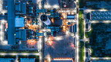 Aerial View Power Plant Architecture Building, Combined Cycle Power Plant Electricity Generating Station Industry Background.