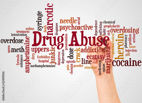 Foto Drug Abuse word cloud and hand with marker concept
