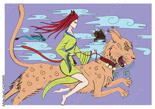 Photo  Woman Rider Vector Dog Lion Hand Drawn