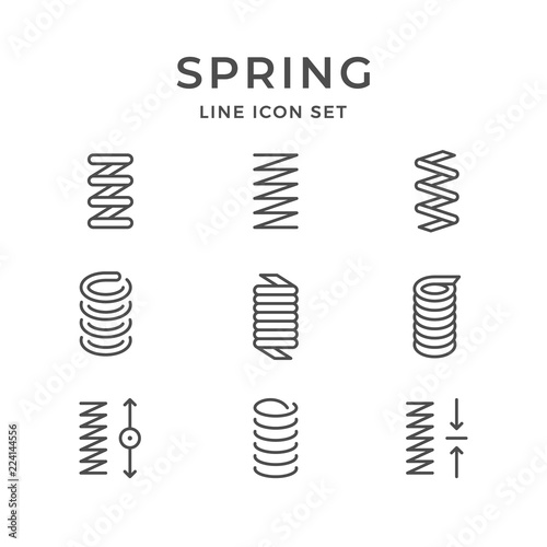 Obraz Set line icons of spring - fototapety do salonu