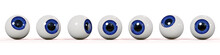 Many Realistic Human Eyes With Blue Iris, Isolated On White Background