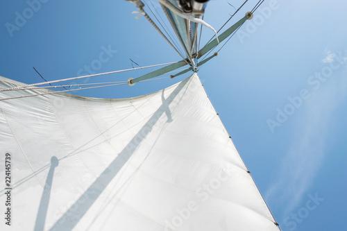 Fotografie, Obraz  White sail of a sailing boat against sky