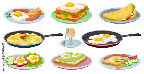 Fototapeta Tasty dishes with eggs set, fresh nutritious breakfast food, design element for menu, cafe, restaurant vector Illustrations on a white background obraz