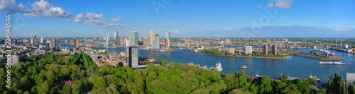 Papiers peints Rotterdam Aerial panorama of Rotterdam city and the Erasmus bridge