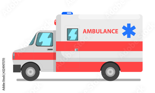 Emergency car, red and white ambulance medical service vehicle vector Illustrati Wallpaper Mural
