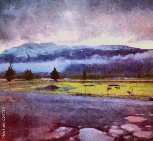 Foto op Plexiglas Crimson Oil painting. Art print for wall decor. Acrylic artwork. Big size poster. Watercolor drawing. Modern style fine art. Beautiful autumn landscape. Mountain in fog.