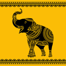 Vector Ethnic Elephant. Hand D...