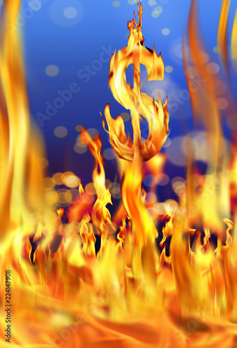 Fotografie, Obraz  Conceptual image of burning dollar sign and fire flames