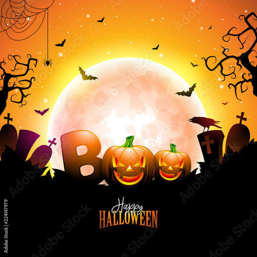 Valokuvatapetti Boo, Happy Halloween design with typography lettering, moon, flying bats and cemetery on orange night sky background