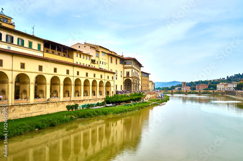 River Arno next to Art Museum Uffizi Gallery in Florence in Italy / Seen from Wallpaper Mural