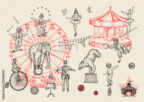 Fotografie, Obraz Retro circus performance set sketch stile vector illustration