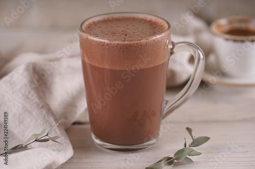 Foto op Plexiglas Chocolade Glass mug with cocoa