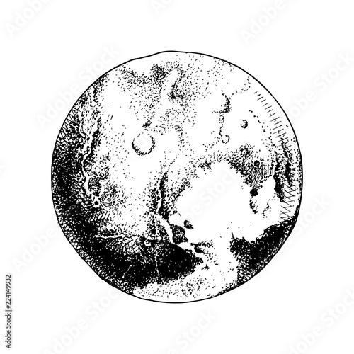 Hand drawn planet Pluto Canvas