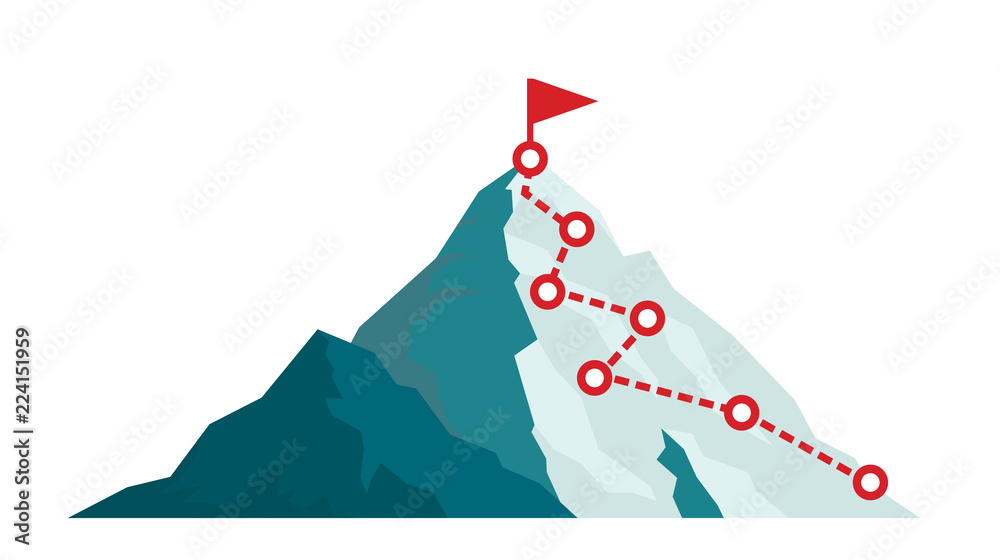 Fototapety, obrazy: Mountain climbing route to peak