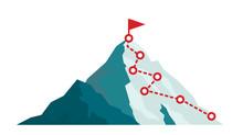 Mountain Climbing Route To Peak