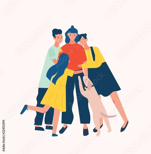 Canvas Prints Superheroes Group of people and dog surrounding and hugging or embracing young woman. Friends' support, care, love and acceptance. True friendship. Bright colored vector illustration in flat cartoon style.