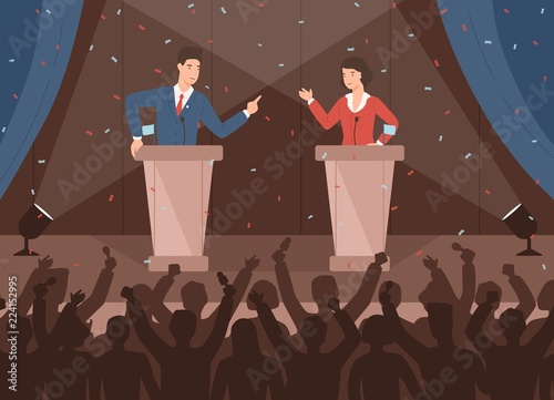 Fotomural  Male and female politicians taking part in political debates in front of audience
