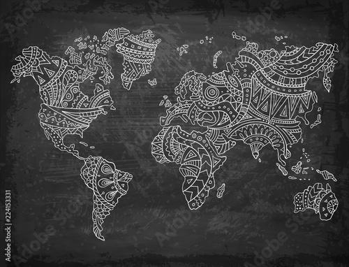 doodle-mape-swiata-na-tle-tablicy-recznie-rysowane-kontynenty-ilustracji-wektorowych-wzory-etniczne