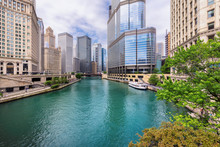 City Of Chicago. Image Of Chicago Downtown And Chicago River With Bridges At Summer Day.