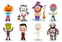 Halloween Kids Costumes: Pumpkin, Vampire, Werewolf, Zombie, Frankenstein, Witch With A Broom, Mummy And Skeleton. Vector Cartoon Set Of Cute Boy And Girl Characters Isolated On White Background.