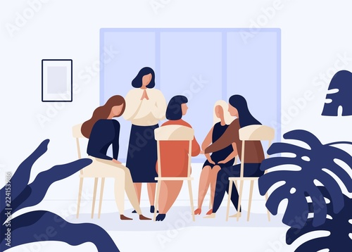 Fototapety, obrazy: Female characters sitting on chairs in circle and talking to each other. Group therapy, psychotherapeutic meeting or psychological aid for women. Colorful vector illustration in modern flat style.