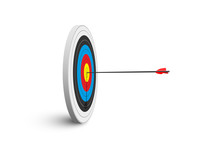 Archery Target With Red Arrow Isolated On White Background. Vector Poster Or Banner Template.