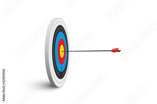 Archery target with red arrow isolated on white background Wallpaper Mural