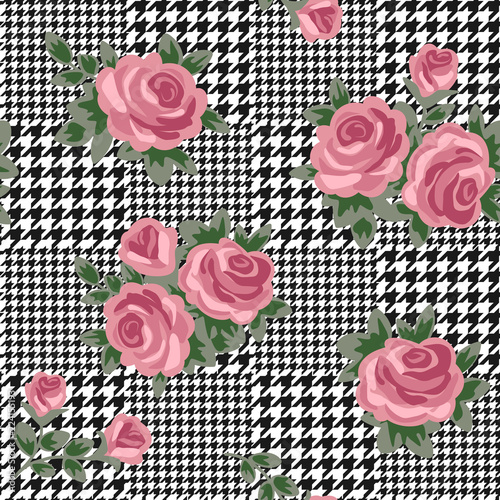 Photo  vector houndstooth seamless black and white pattern with pink retro roses