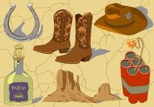 Vector Cowboy Hand Drawn Icons