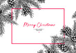 Christmas holiday greeting card with fir tree and pine cone. Vec