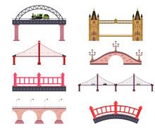Bridges Vector Cartoon Flat Simple Set Isolated On White Background.