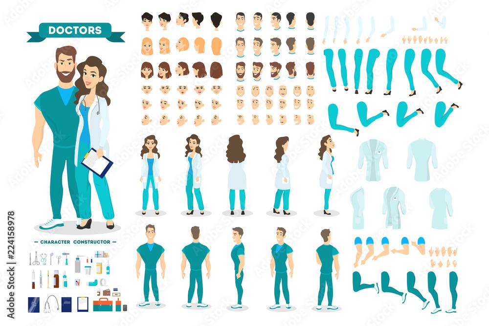 Fototapeta Doctor couple character set for the animation