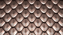Golden Scales Textured Abstract Background 3D Illustration