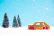 Wooden toy car in snowy wonder land forest