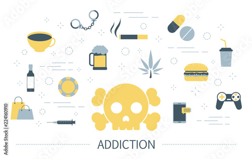 Photo  Addiction concept. Social, computer and drug addiction