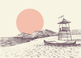 Lifeguard tower on the beach drawing - 224162367