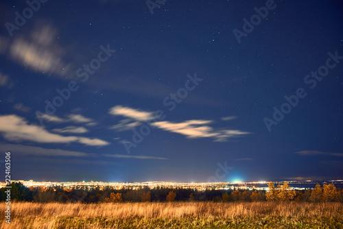 Fotografia, Obraz  View from the mountain to Reykjavik by night
